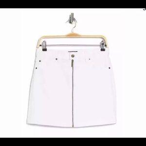1.STATE White Cotton Denim Zip Front Mini Skirt